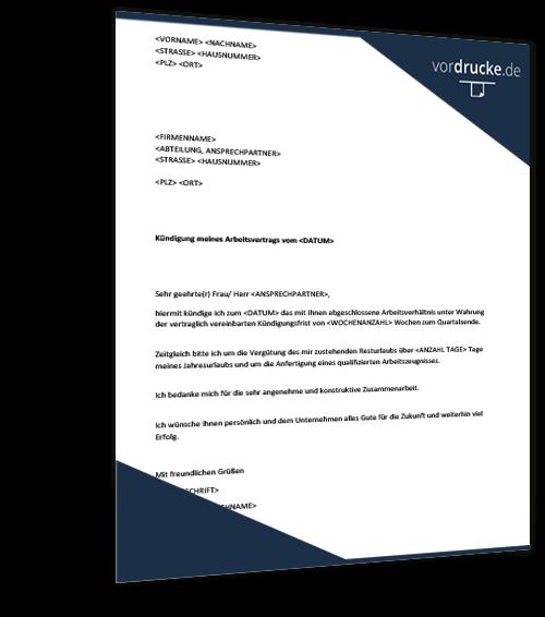 Vorlage kündigung Arbeitsvertrag: Kündigungsschreiben